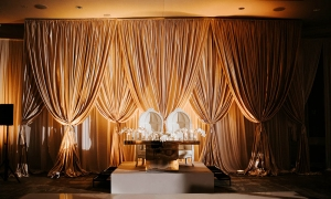 TRIPLE LAYER SWAG LUXURY WEDDING NOBU EDEN ROC MIAMI